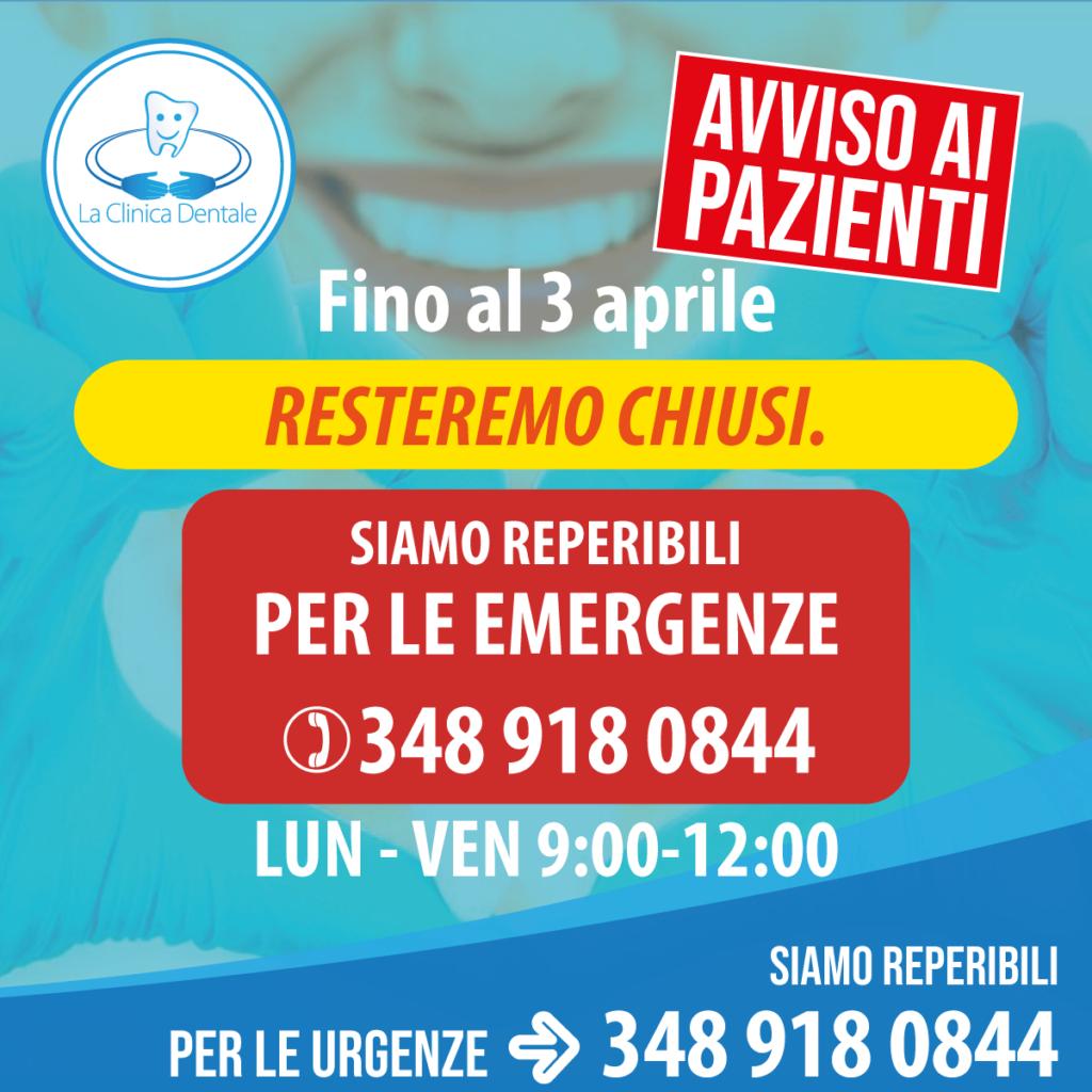 Chiusura Marzo La Clinica Dentale Gallarate
